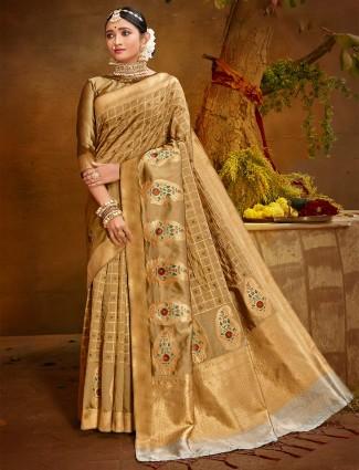 Stunning beige banarasi silk wedding wear saree for women
