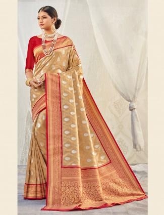Stunning beige banarasi tissue silk saree for wedding events