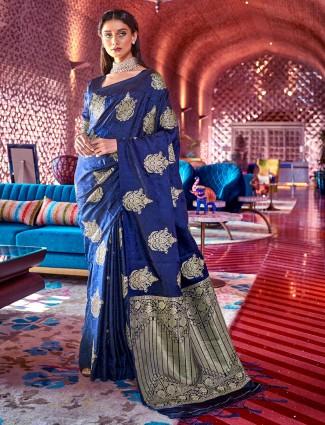 Stunning blue jacquard silk saree for wedding occasions