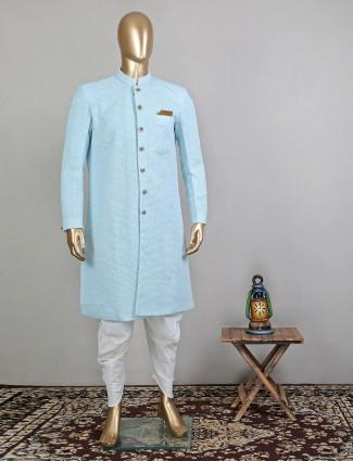 Stunning blue georgette wedding wear indowestern sherwani