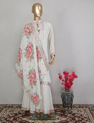 Stunning cream georgette sharara suit for wedding event