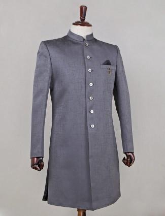 Stunning grey designer indo fusion sherwani in raw silk