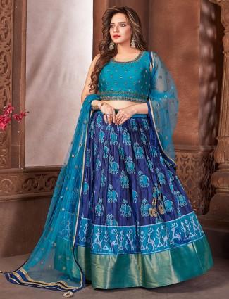 Stunning indigo blue lehenga choli in patola silk