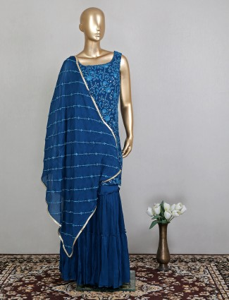 Stunning ink blue designer palazzo suit for women