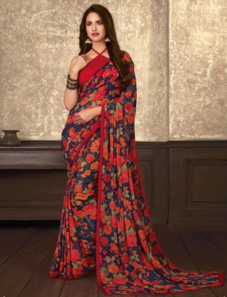 Stunning navy and red printed georgette saree for festive
