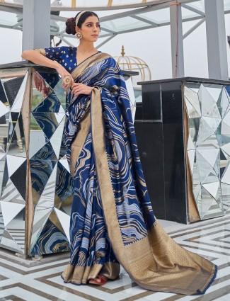 Stunning navy art silk saree for wedding occasions