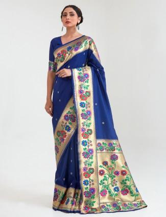 Stunning navy banarasi silk saree for wedding session