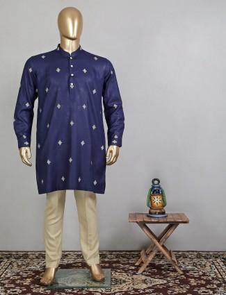Stunning navy blue cotton festive kurta suit