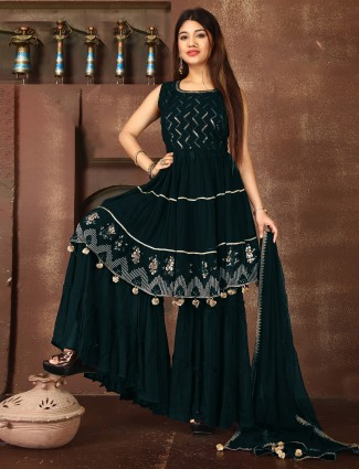 Stunning peacock blue georgette sharara suit for wedding event