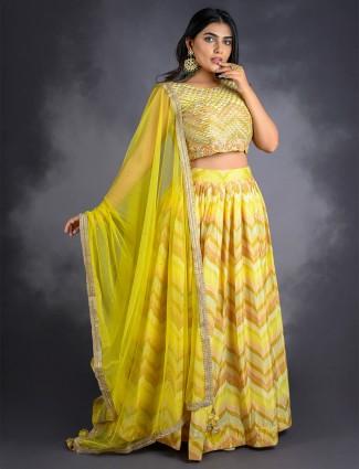 Stunning pine yellow cotton silk lehenga choli