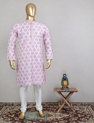 Stunning pink printed cotton festive wear kurta