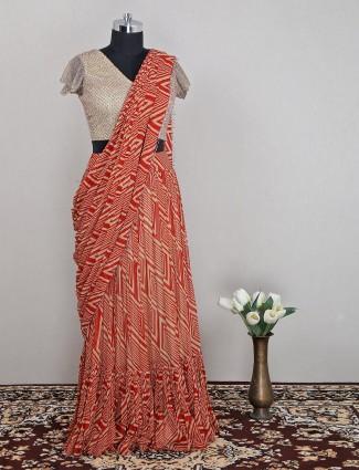 Stunning red pre-stitch saree in georgette