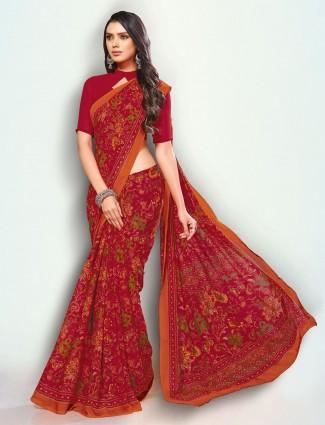 Stunning red printed georgette saree
