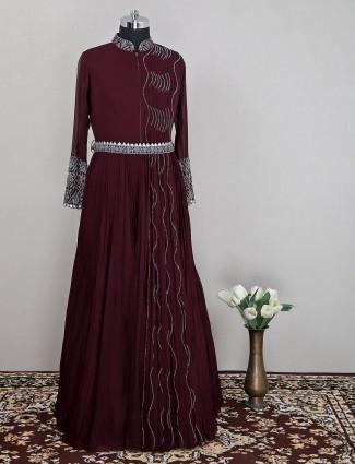 Stunning wine georgette designer wedding wear gown for women