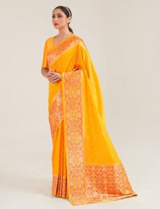 Stunning yellow banarasi silk saree for wedding session