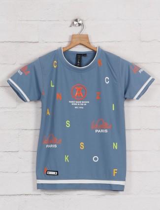 Sturd blue cotton printed casual t-shirt
