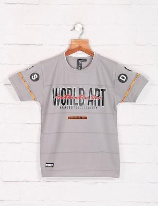 Sturd grey printed cotton t-shirt