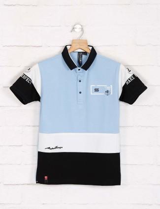 Sturd light blue polo neck printed t-shirt