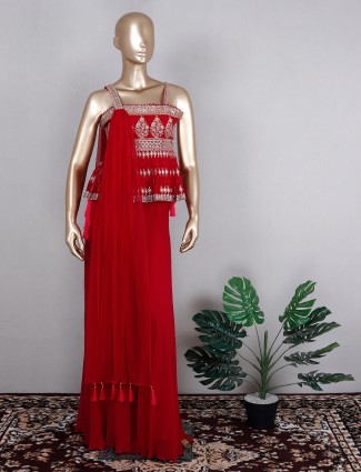 Stylish attractive red tint sharara suit