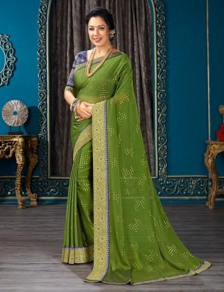 Stylish green chiffon festive wear saree