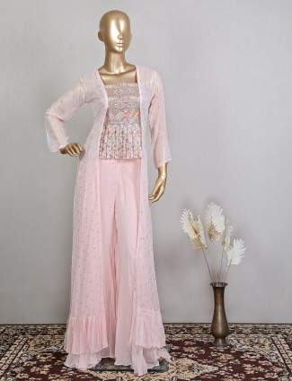 Stylish jacket style palazzo suit in pink tint