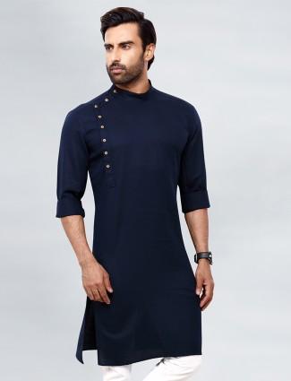 Stylish solid style navy tint kurta for mens