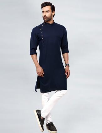 Stylish solid style navy tint kurta set for mens