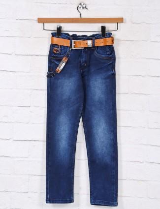Stylish washed blue denim jeans for boys
