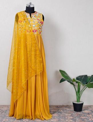 Sun yellow anarkali suit enhanced with thread work