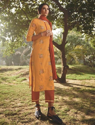 Sun yellow cotton punjabi style festive wear pant suit