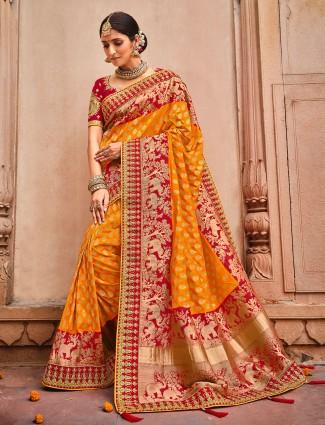 Sun yellow dola silk wedding wear saree with zari weaved
