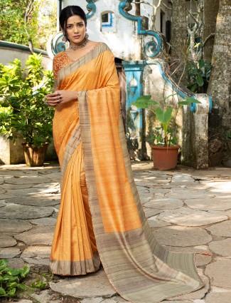 Sun yellow hue silk wedding events saree