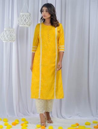 Sunshine yellow punjabi style printed festive wear cotton pant suit