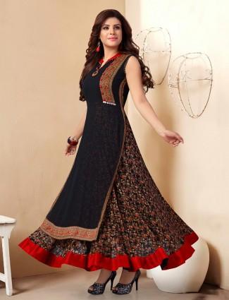 Superb black georgette printed designer kurti