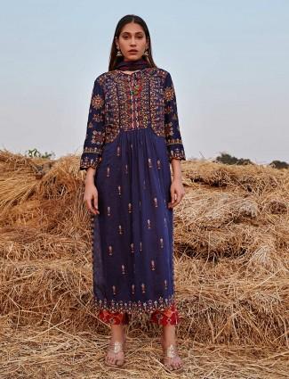 Superb blue and red cotton punjabi style salwar suit