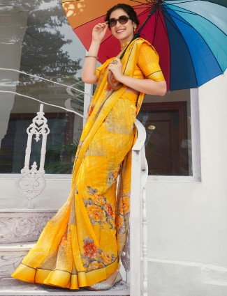 Superb canary yellow georgette printed saree