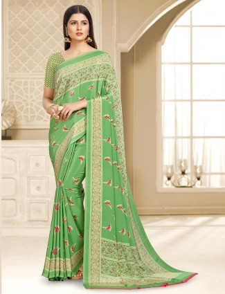 Superb satin crepe pista green printed saree
