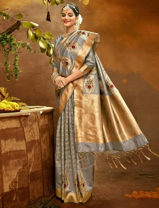 Superb grey banarasi silk wedding wear saree