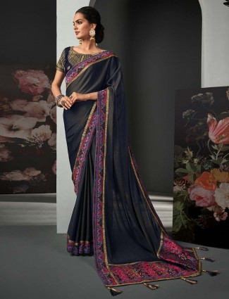 Superb grey silk festive wear saree for women