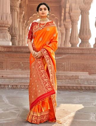 Superb orange banarasi silk saree for wedding session