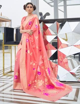 Superb peach art silk saree for wedding occasions