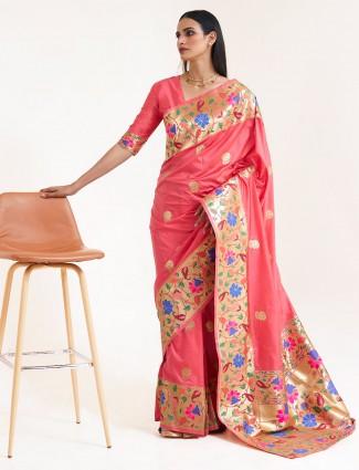 Superb pink banarasi silk saree for wedding session
