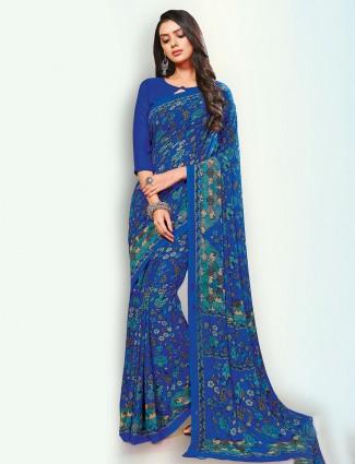 Superb royal blue georgette printed saree