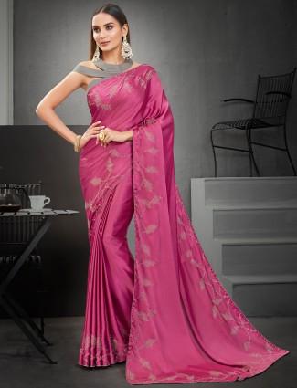 Superb Thulian pink satin printed saree