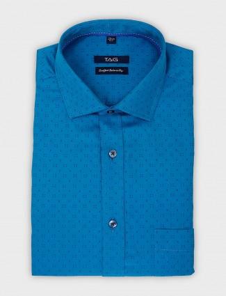 TAG blue hue printed slim fit shirt