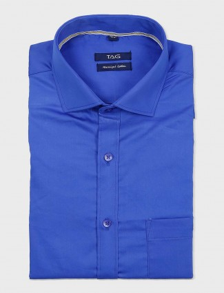 TAG dark blue full sleeves cotton shirt