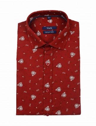 TAG maroon colored slim fit shirt