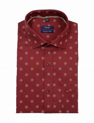 TAG maroon printed formal shirt