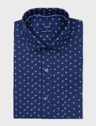 TAG navy mens formal wear printed shirt