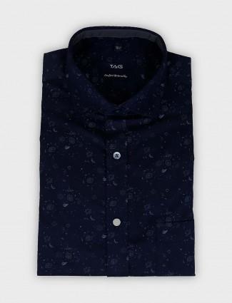 TAG navy printed cotton fabric shirt